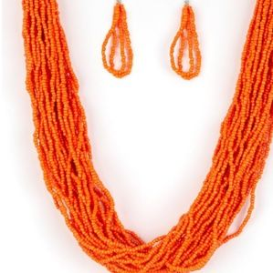 Orange necklace/earrings paparazzi
